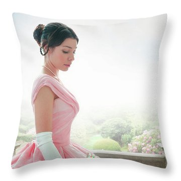 Victorian Woman In A Pink Ball Gown Throw Pillow by Lee Avison