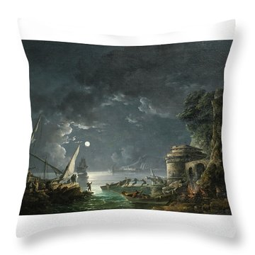 Throw Pillow featuring the painting View Of A Moonlit Mediterranean Harbor by Carlo Bonavia