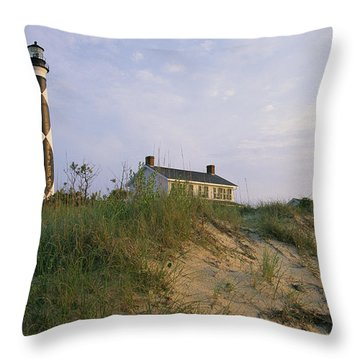 View Of Cape Lookout Lighthouse Throw Pillow by Stephen Alvarez