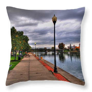 View Of Delaware Bridge At Erie Canal Harbor Throw Pillow