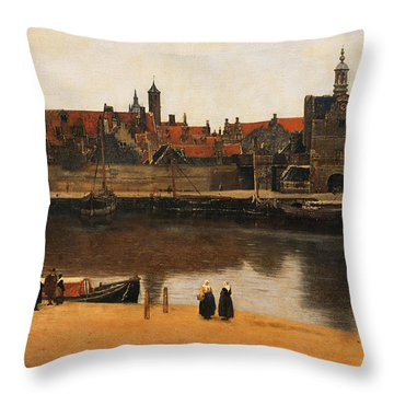 View Of Delft Throw Pillow by Jan Vermeer