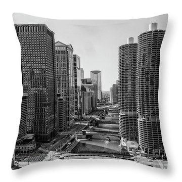 View On Chicago Bridges In Black And White Throw Pillow