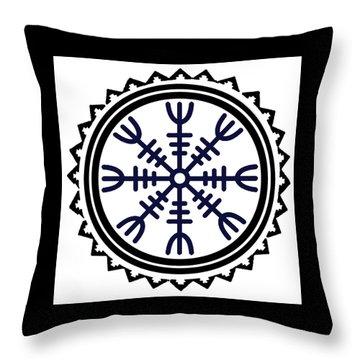 Throw Pillow featuring the digital art Viking Helm Of Awe by Vagabond Folk Art - Virginia Vivier