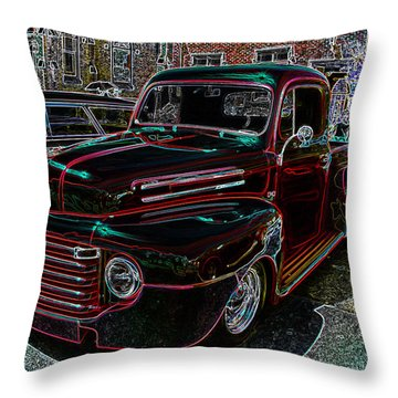 Vintage Chevy Truck Neon Art Throw Pillow