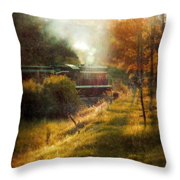 Vintage Diesel Locomotive Throw Pillow by Jill Battaglia
