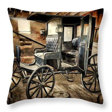 Vintage Horse Drawn Carriage  Throw Pillow by Judy Palkimas