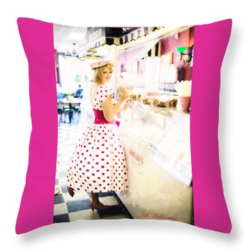 Vintage Val Ice Cream Parlor Throw Pillow