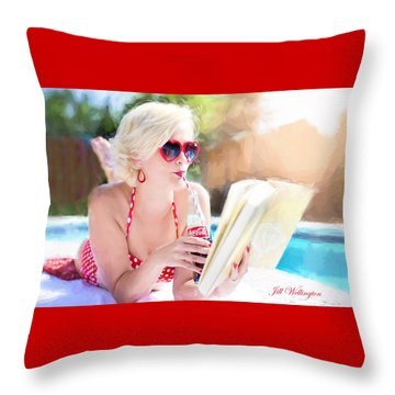 Vintage Val Poolside Throw Pillow