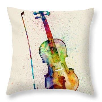 Violin Abstract Watercolor Throw Pillow