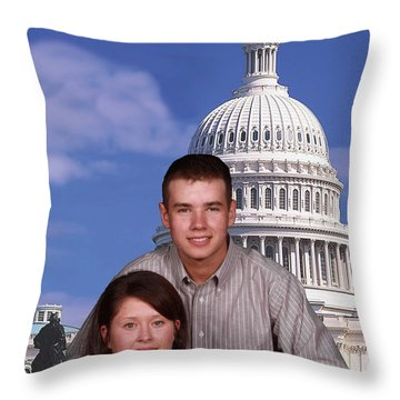Visiting The Capitol Throw Pillow by Robert Hebert