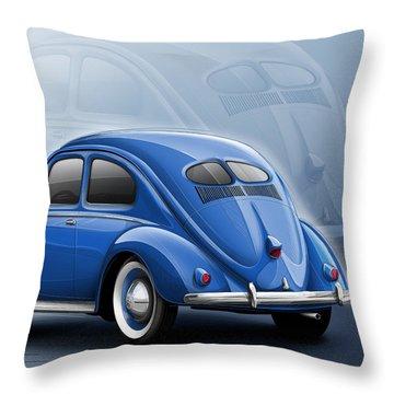 Volkswagen Beetle Vw 1948 Blue Throw Pillow