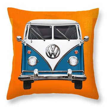 Volkswagen Type 2 - Blue And White Volkswagen T 1 Samba Bus Over Orange Canvas  Throw Pillow