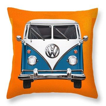 Volkswagen Type 2 - Blue And White Volkswagen T 1 Samba Bus Over Orange Canvas  Throw Pillow by Serge Averbukh
