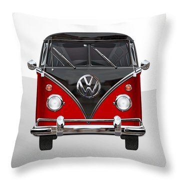 Volkswagen Type 2 - Red And Black Volkswagen T 1 Samba Bus On White  Throw Pillow