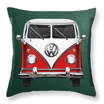 Volkswagen Type 2 - Red And White Volkswagen T 1 Samba Bus Over Green Canvas  Throw Pillow