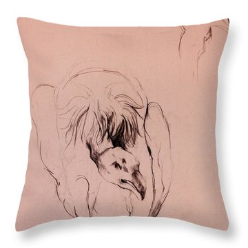 Vulture Sketch By Ivailo Nikolov Throw Pillow by Boyan Dimitrov