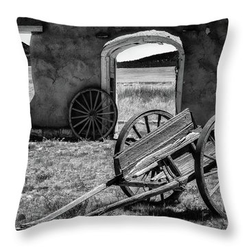 Wagon Wheels In Bw Throw Pillow by James Barber