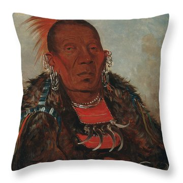 Wah-ro-nee-sah, The Surrounder, Chief Of The Tribe Throw Pillow