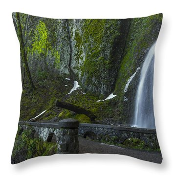 Wahkeena Falls Bridge Signed Throw Pillow