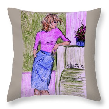 Throw Pillow featuring the drawing Waiting by P J Lewis