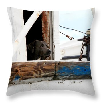 Waiting On His Best Friend Throw Pillow by Toni Hopper