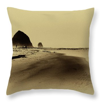 Walking The Beach Throw Pillow by David Patterson