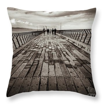 Throw Pillow featuring the photograph Walking The Pier by Perry Webster