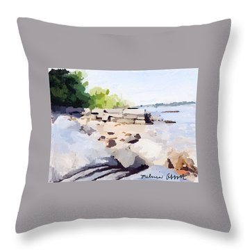 Wall And Beach At Ten Pound Island Throw Pillow