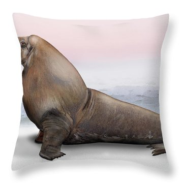 Throw Pillow featuring the painting Walrus Odobenus Rosmarus - Marine Mammal - Walross by Urft Valley Art
