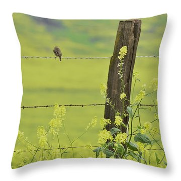 Warbler In The Meadow Throw Pillow