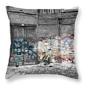 Warehouse In Lisbon Throw Pillow by Ehiji Etomi