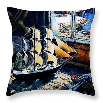 Warm Winter Pastime Throw Pillow by Hanne Lore Koehler