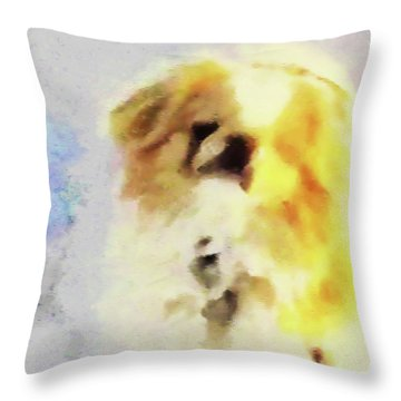 Throw Pillow featuring the photograph Wasabi, Dog Painted. by Roger Bester