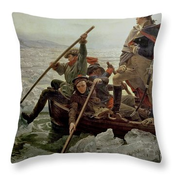 Washington Crossing The Delaware River Throw Pillow by Emanuel Gottlieb Leutze