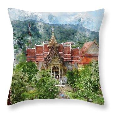 Wat Chalong In Phuket Thailand Throw Pillow