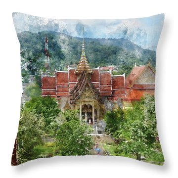 Wat Chalong In Phuket Thailand Throw Pillow