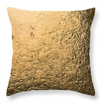 Water Abstraction - Liquid Gold Throw Pillow by Alex Potemkin