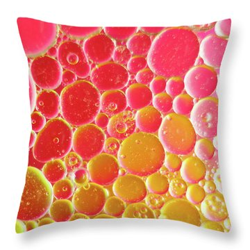 Water And Oil Bubbles Throw Pillow