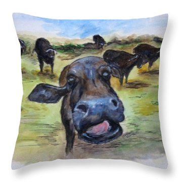 Water Buffalo Kiss Throw Pillow
