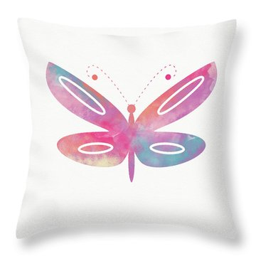 Watercolor Butterfly 2- Art By Linda Woods Throw Pillow