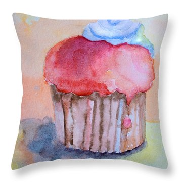 Watercolor Illustration Of Cake  Throw Pillow