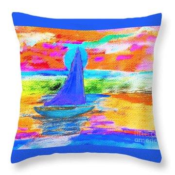 Watercolor Sailing Throw Pillow by Scott D Van Osdol
