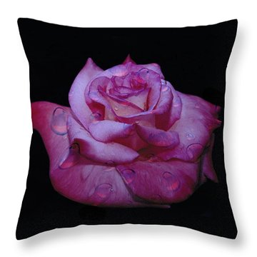 Watered Red Rose Throw Pillow