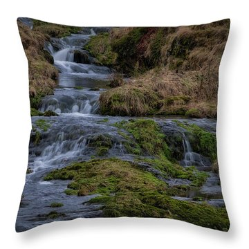 Throw Pillow featuring the photograph Waterfall At Glendevon In Scotland by Jeremy Lavender Photography