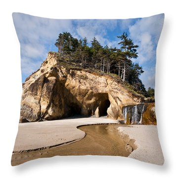 Waterfall Flowing Into The Pacific Ocean Throw Pillow