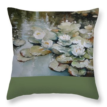 Throw Pillow featuring the painting Waterlilies by Elena Oleniuc
