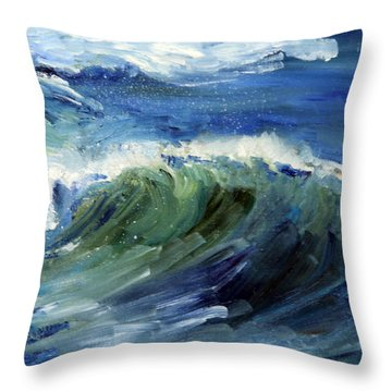 Wave Action Throw Pillow by Michael Helfen