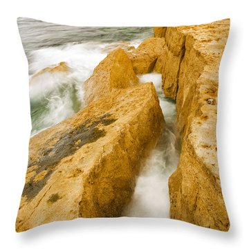 Throw Pillow featuring the photograph Waves Crashing Over Portland Bill by Ian Middleton
