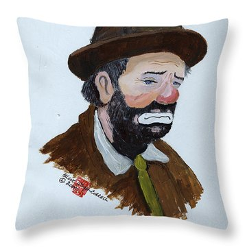 Weary Willie The Clown Throw Pillow by Arlene  Wright-Correll