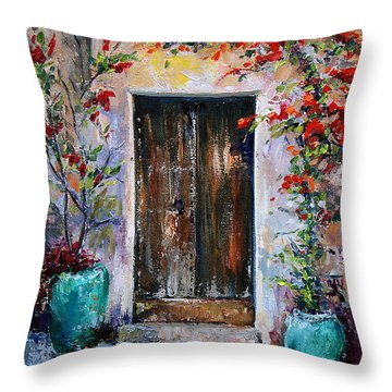 Throw Pillow featuring the painting Welcome by Jennifer Beaudet
